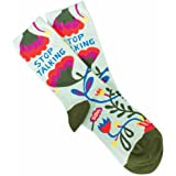 Blue Q Socks, Women's Crew, Stop Talking,Multicolor,OS