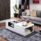 Black and White Glass Coffee Table Furniture of America Kassalie Modern Two-tone White/Black Glass Top Coffee Table