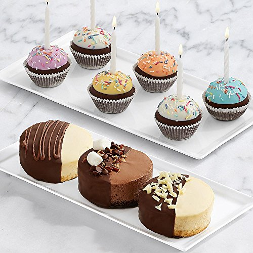 Shari's Berries - Dipped Cheesecake Trio & 6 Handmade Birthday Brownie Pops - 9 Count - Gourmet Baked Good Gifts
