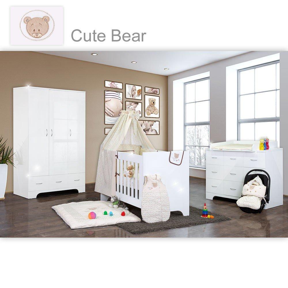 Hochglanz Babyzimmer Memi 19-tlg. mit Textilien von Cute Bear in Beige