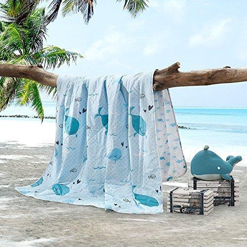 LOVO Children Comforter Coverlet Bedspread Dolphin Print Bedding Quilt For Kids, Blue, Full