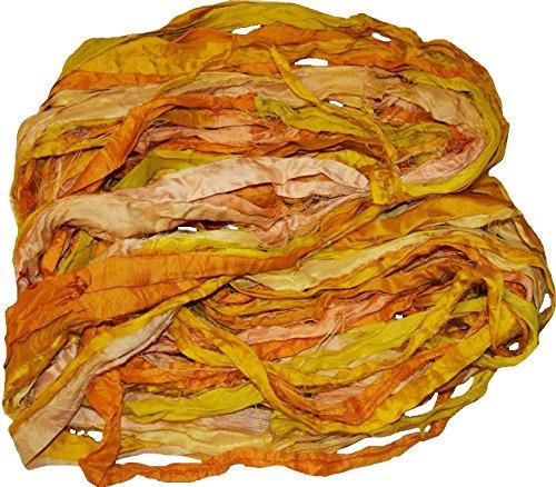Silk Yarn Sari Recycled (Sari Silk 100g Ribbon Yarn -recycled Sari Silk Ribbon Yarn Yellow Gold Orange)