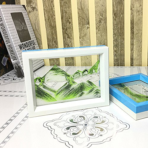 White Sand Greens - CooCu Moving Sand Art Picture,Desktop Art Toys and As A Gift(Green Space) - Black,White,Green