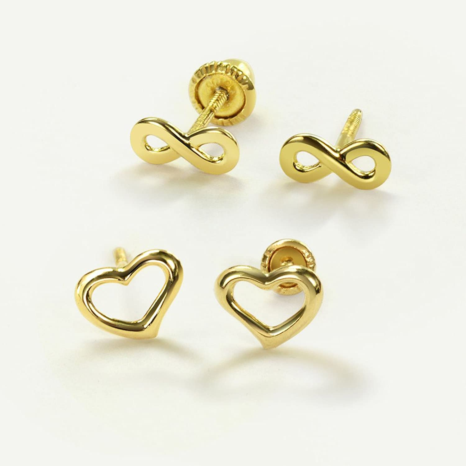Bling Jewelry 14K Yellow Gold Safety Screwback Heart Studs Baby Earrings clqWBmR