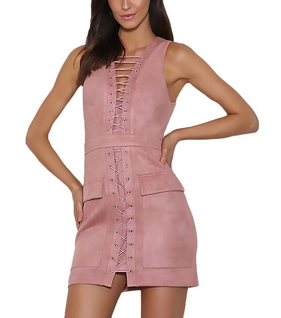 Vestidos Mujer Verano Elegantes Cortos Gamuza Bandage Bodycon Vestido Con Bolsillo Tubo Slim Fit Sin Mangas