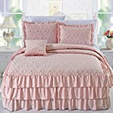 Home Soft Things Serenta 4 Piece Matte Satin Ruffle Quilted Bedspread Set, Queen, Pink
