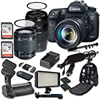 Canon EOS 7D Mark II 20.2MP CMOS Digital SLR Camera with Canon EF-S 18-55mm f/3.5-5.6 IS STM Lens + Tamron AF 70-300mm f/4-5.6 Lens + Battery Grip + Promotional Holiday Accessory Bundle