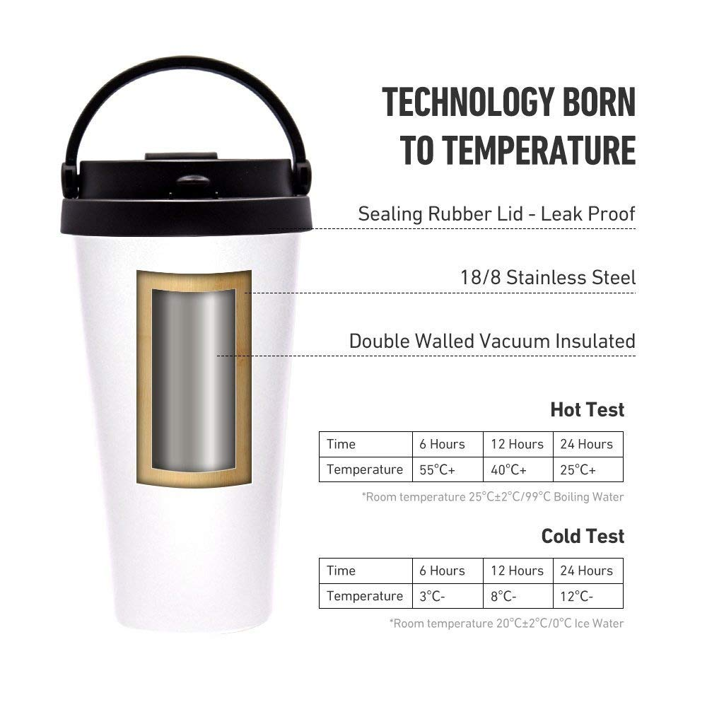 17 oz Stainless Steel Vacuum Insulated Travel Tumbler, Flip Lid Easy Open Handle Mug with Cleaning Brush, White
