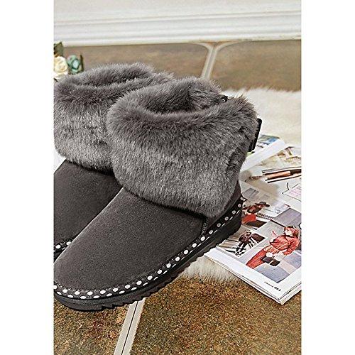 Scarpe Casual Autunno per donna Black Blu Nero Toe Grigio Calf HSXZ pu Snow piatto Comfort rotondo stivali Mid Inverno tacco stivali Boots xS4qpw