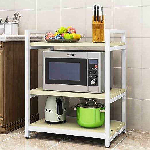 ZXCC Madera Microondas para Cocinas con Almacenamiento, Metálico ...