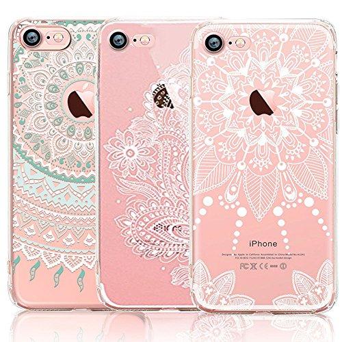 iPhone 7 4.7 inch Case, CarterLily [3-Pack] Ultra Thin Colorful Mandala Henna White Flower Cute Art Pattern TPU Rubber Flexible Slim Skin Soft Scratch Resistant Case iPhone 7-Hongse