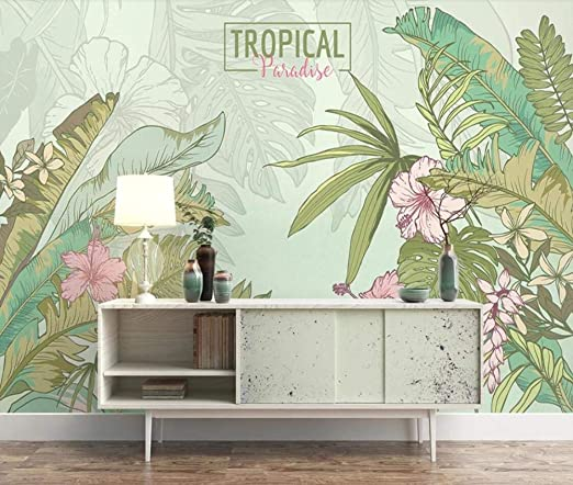 Muraon Tropical Leaf Wallpaper Nordic Rain Forest Mural De
