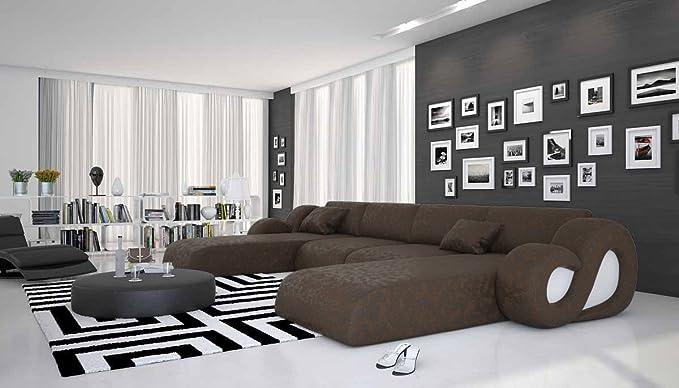 Montana u designer couch garnitur im xxl format mit 2 ottomanen polster ecke für wohnzimmer schwarz 485cm x 242cm amazon de küche haushalt