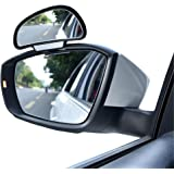 YASOKO Adjustable 360 Degree Rotation Wide Angle Side Rear Mirrors Blind Spot Snap Way Rearview Mirror Universal (Left, Black