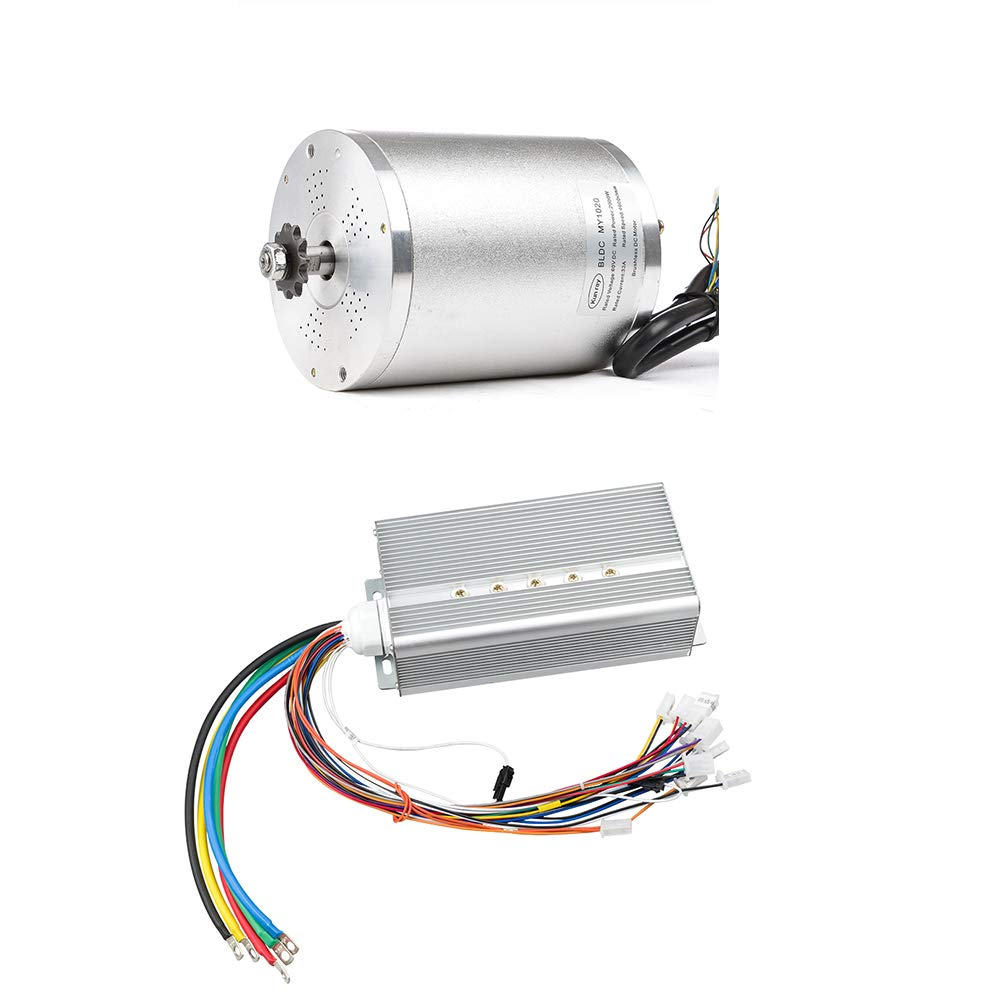 Kunray E-Motor 72V 3000W Brushless Motor Kit with 24 Mosfet 50A Controller Set for Electric Scooter E Bike Engine Motorcycle DIY Part Conversion Kit (Motor with Controller only(Motor Without Foot))