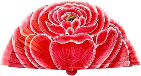 """Lote de 4 Abanicos de Madera Artesanales Pintados a Mano""""Flor Rosa"""". Complementos. Regalos y Recuerdos Originales.Detalles de Bodas, Comuniones, Bautizos y Eventos.CC"""
