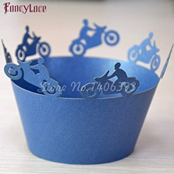 Maslin 50PCS Laser Cut Motorbike Birthday Cupcake Wrappers Cake Decorations Kids Baby Shower Cup Cakes