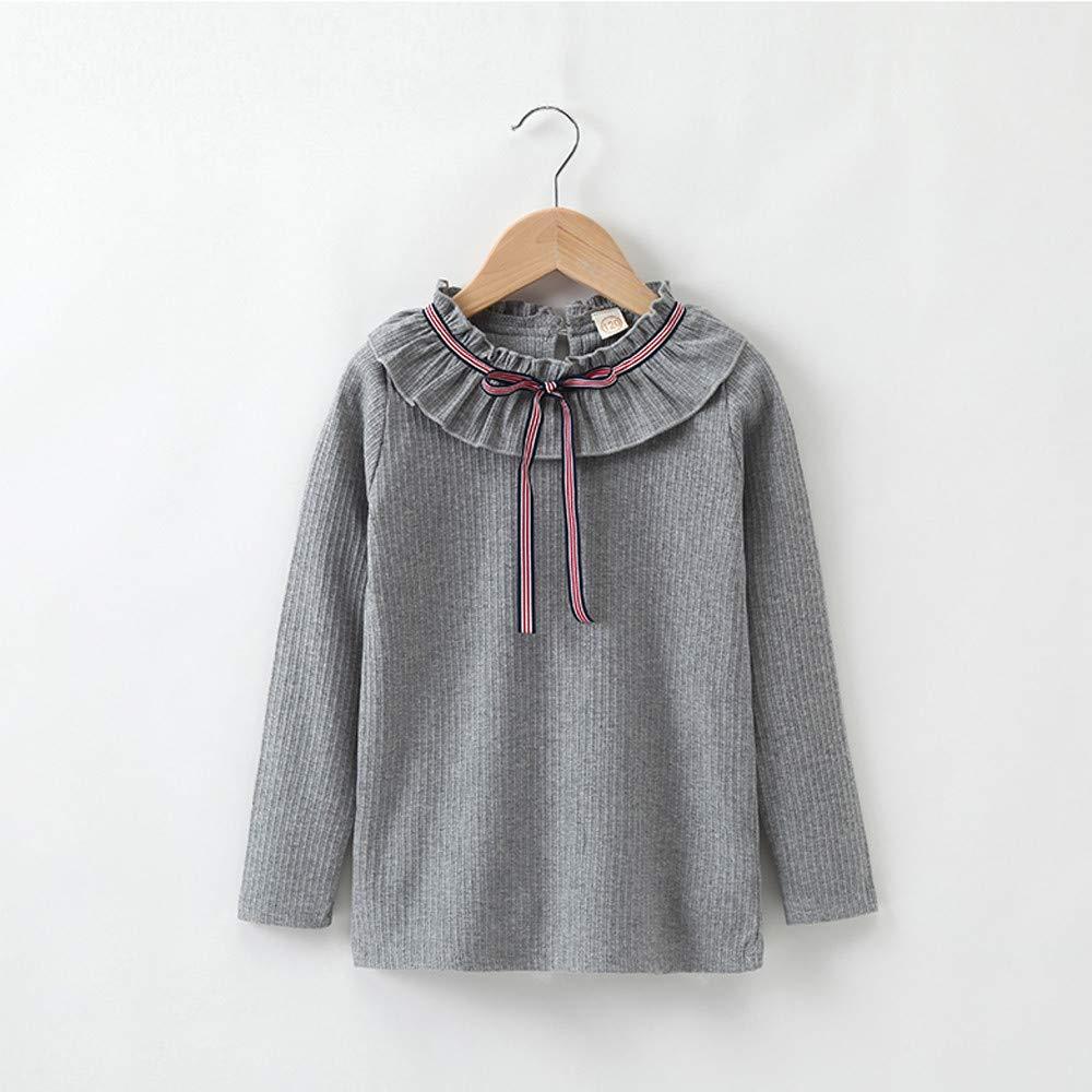Lurryly❤Girls Kids Long Sleeves T Shirt Blouse Winter Warm Children Outerwear Clothes 4-13T
