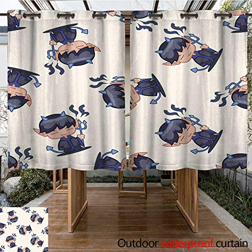 RenteriaDecor Outdoor Balcony Privacy Curtain Halloween Party Costume Cartoon Seamless Pattern Background W55 x L72 -