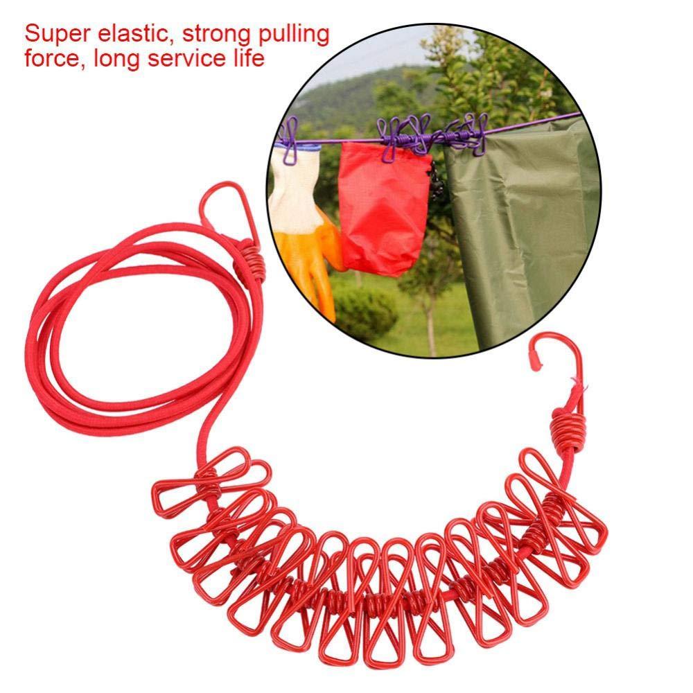 rouge Corde /à linge pliante corde /à linge avec 12 clips coupe-vent /élastique corde /à linge int/érieure Camping ext/érieure v/êtements cintre 190cm rouge//noir