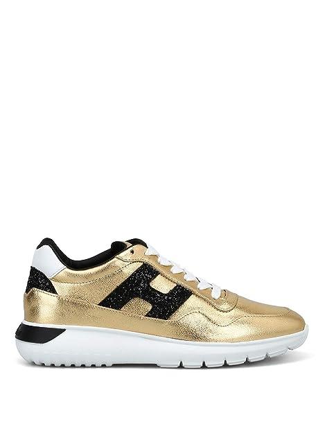 Hogan Mujer HXW3710AP20JI70ZC1 Oro Cuero Zapatillas: Amazon.es: Zapatos y complementos