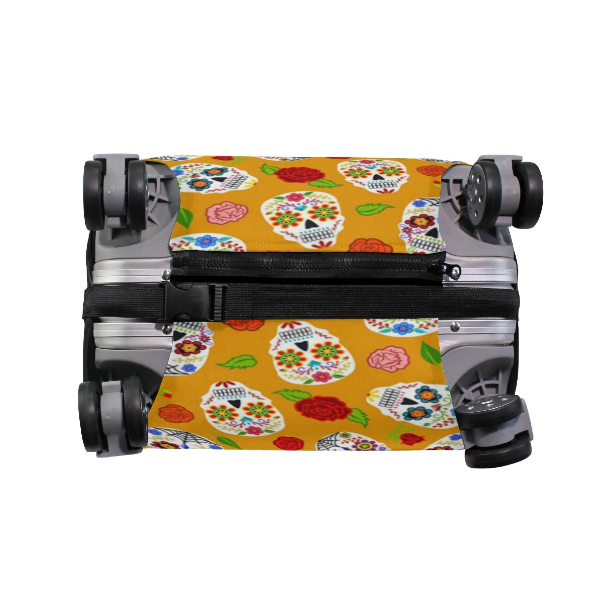 Scary Color Black Skull Traveler Lightweight Rotating Luggage Protector Case Can Carry With You Can Expand Travel Bag Trolley Rolling Luggage Protector Case