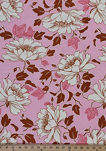 Cotton Amy Butler Lotus Collection Tree Peony Flowers Flower Blossom Floral on Pink Cotton Fabric Print by the Yard (AB18-PINK) - Lotus Peony