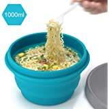 LAOPAO Collapsible Silicone Bowl with Lid 500ML 1000ML for Outdoor Camping, Travel, Hiking and Indoor Home Kitchen, Office, School Student, Food-Grade, Space-Saving