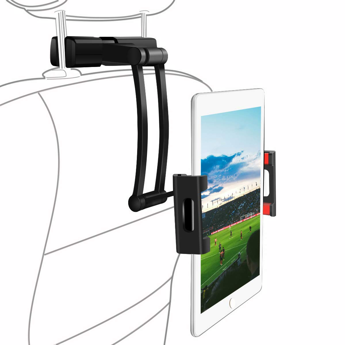 SAWAKE Car Headrest Mount Universal Car Tablet Phone Stand Holder Bracket Adjustable 360° Rotation for 5''-14'' for iPad Pro,iPad Mini, Samsung, Tablets, Telephone, Kindle, E-Reader and Other Devices