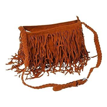b19eca79a bolso de las mujeres - SODIAL(R)Bolso Borlas Bolsa Bandolera Mujer Flecos  Largos Entrelazado Pana Colores Retro: Amazon.es: Equipaje
