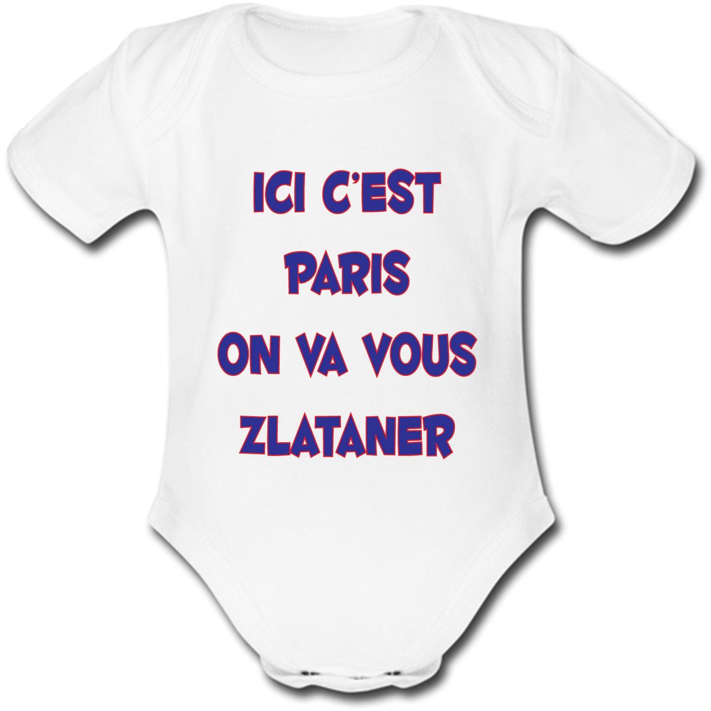 yonacrea Ici Cest Paris on va Vous Zlataner Body B/éb/é Manches Courtes Humour
