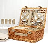 Sutton 4 Person Picnic Basket Set, Cream Fleece Blanket - Gift ideas for Dad, Fathers Day, him, her, Birthday, Wedding, Anniversary, Corporate, Business, Thank you, Family, Vacation