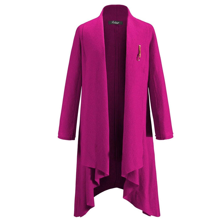 Damen Winter warm langen Wollmantel Solid Color Luxury Cardigan Trench Coat