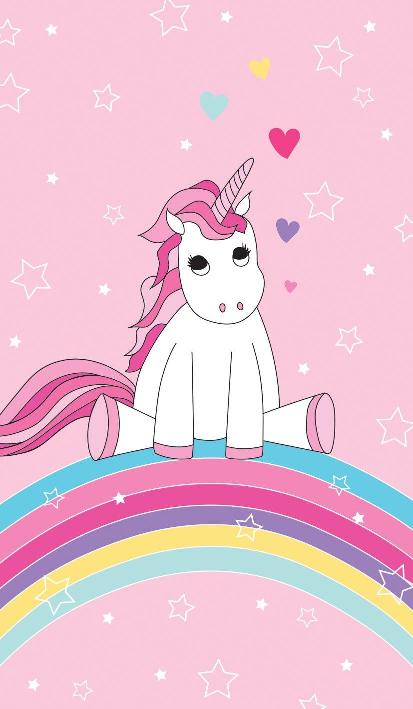 Familando Beautiful Unicorn Unicorn Rainbow Beach Towel with Stars, Hearts, Girl Swimming Pool Towel 70x 140cm 100% Cotton Velour Pink