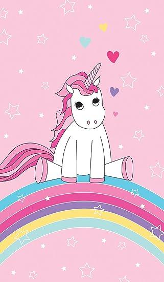 Familando Toalla infantil de playa con bonito diseño de unicornio, arco iris, estrellas y corazones; 70 x 140 cm, 100% algodón aterciopelado, ...