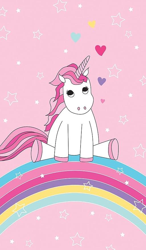 Familando Toalla infantil de playa con bonito diseño de unicornio, arco iris, estrellas y