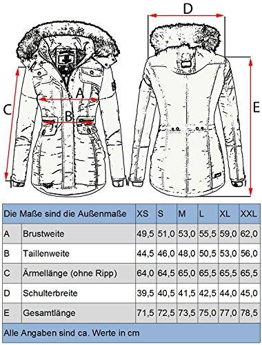sintetica Grigio Antracite 8 trapuntata in XXL cappuccio con da Giacca invernale Colori Navahoo XS Schätzchen pelliccia donna ZvfPAA