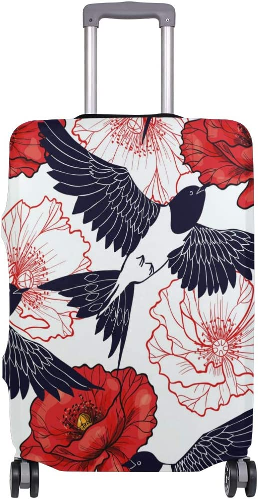 FOLPPLY Swallow Bird Red Poppy Pattern Luggage Cover Baggage Suitcase Travel Protector Fit for 18-32 Inch