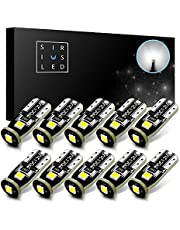 SIRIUSLED 194 Extremely Bright 3030 Chipset LED Bulbs for Car Interior Dome Map Door Courtesy License Plate Lights Compact Wedge T10 168 2825 Xenon White Pack of 10