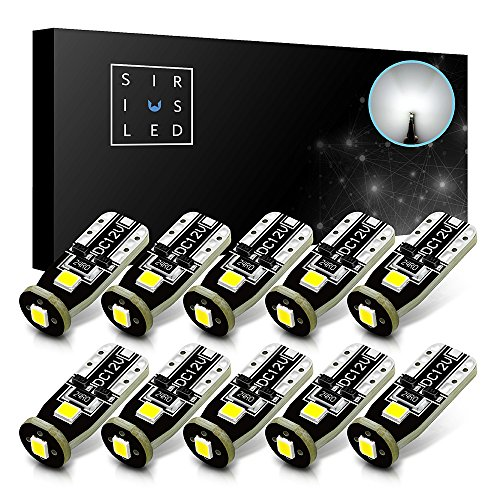 SiriusLED Extremely Bright 3030 Chipset LED Bulbs for Car Interior Dome Map Door Courtesy License Plate Lights Compact Wedge T10 168 194 2825 Xenon White Pack of 10 ()