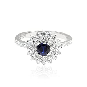 Double Halo Solitaire Wedding Engagement Bridal Ring Simulated Sapphire CZ Round 925 Sterling Silver