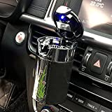 FMS Car Cigarette Ashtray Portable Solar Charging Automotive Ashtray with Blue LED Light for Most Car Air Vent and Cup Holder, Black