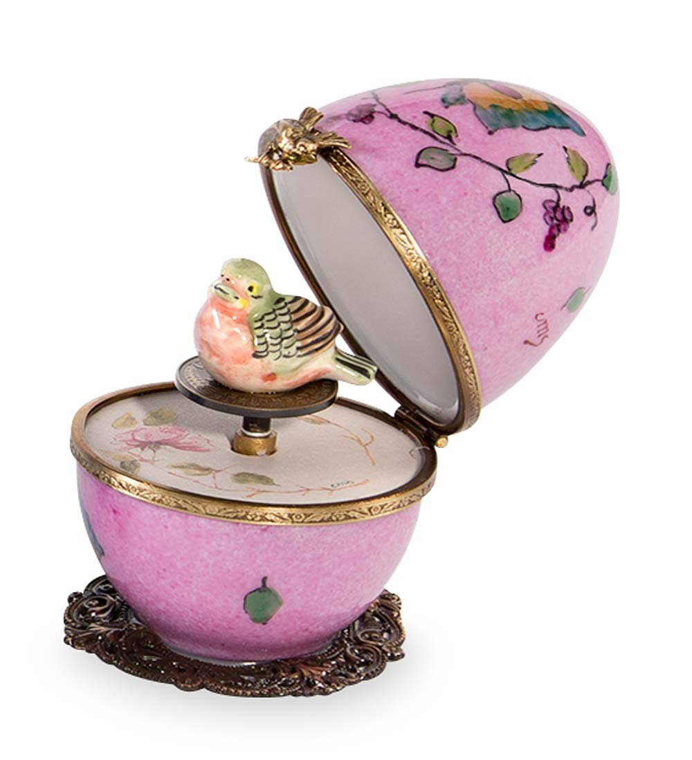 Butterfly and Bird Limoges Egg - Pink