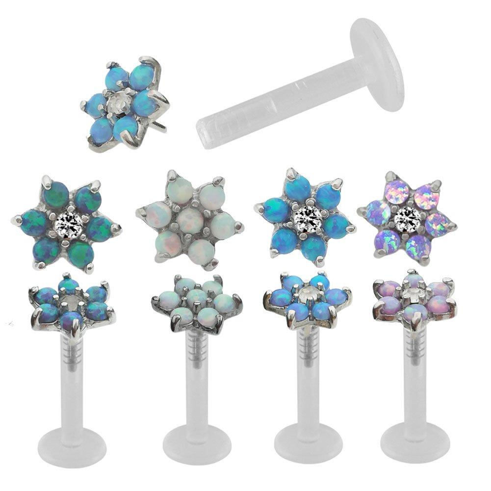 16 Gauge 5/16 Opal Flower Acrylic pin Internal Threaded Labret Cartilage Earrings (Blue Opal) by Peki Labrets