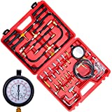 Orion Motor Tech Professional Fuel Injection Pressure Tester Gauge Tool Kit with Complate Adapter Fitting Set,Dual Scale for Max 140 PSI (10 Bar)