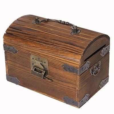 TAHE Hucha, Sólido-Madera con Cerradura Retro Cofre Hucha, Caja Ahorro Dinero, Creativo Adulto Niños Regalos-Brown-a 12×14cm(5×6inch): Juguetes y juegos