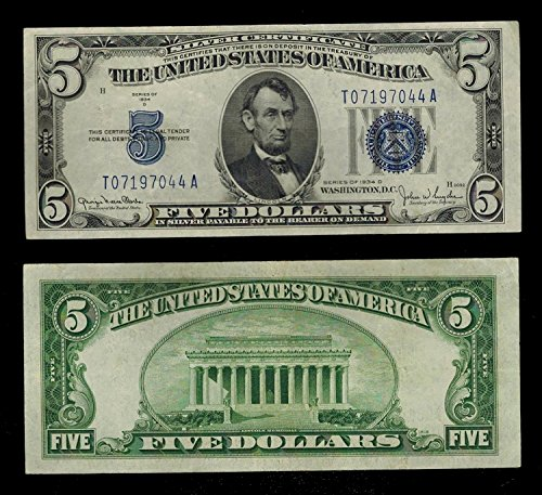 Five Dollar Silver Certificate (1934 Various Mint Marks Large Blue Seal Silver Certificate Hard to Find $5 Fine)