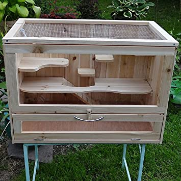 Small Animal Cage Rodent Hamster Hutch Pen Wooden Terrarium