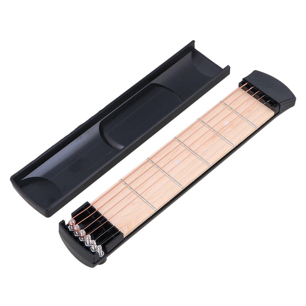 yibuy portátil plástico 6Fret bolsillo guitarra cuerdas de práctica herramienta Gadget Chord negro etfshop YB5390