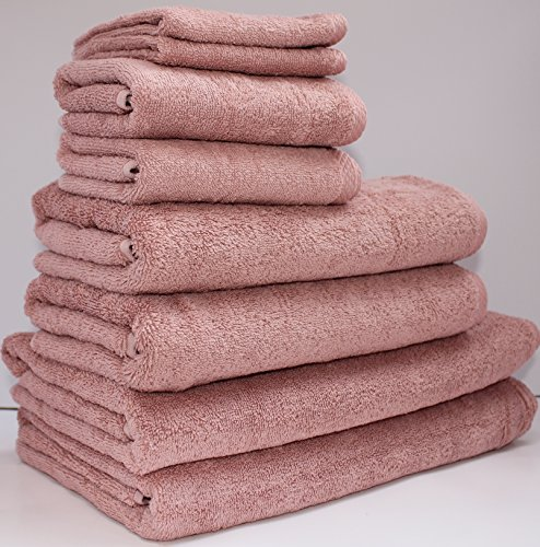Towel Set included, 2 bath sheet,2 bath towel, 2 hand towel, 2 washcloth Turkish Cotton, Made in Turkey, Chemical-free, Antibacterial, Multipurpose Use((( CLEARANCE PRICE 8 Piece Set, (Rose Towel Set)
